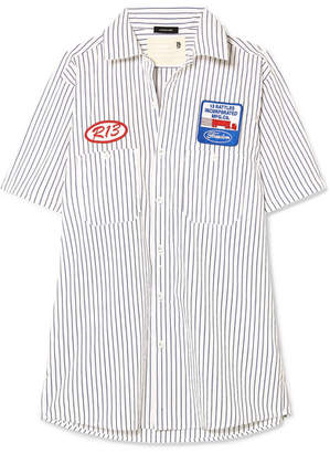 R 13 Appliquéd Striped Cotton-poplin Shirt - Navy