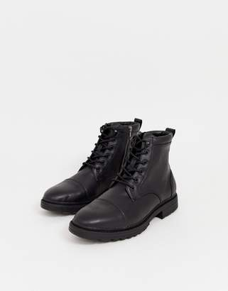 Pull&Bear worker boots in black