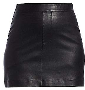 Helmut Lang Women's Stretch Leather Mini Skirt