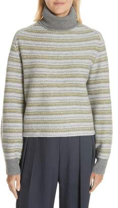 Vince Wool & Cashmere Stripe Knit Turtleneck