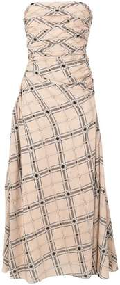 Fendi strapless geometric printed dress