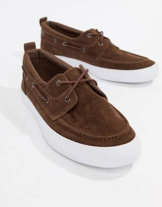 Asos Design Vegan Friendly Boat Shoes In Brown Faux Suede