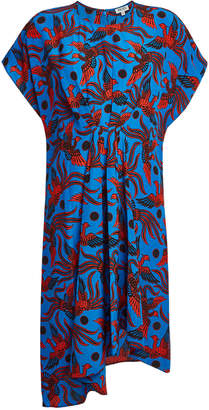 Kenzo Asymmetric Printed Silk Dress