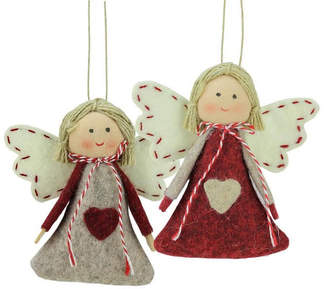 Asstd National Brand Set of 2 Gray and Red Holiday Angel Girl Decorative Hanging Christmas Ornaments 3.5