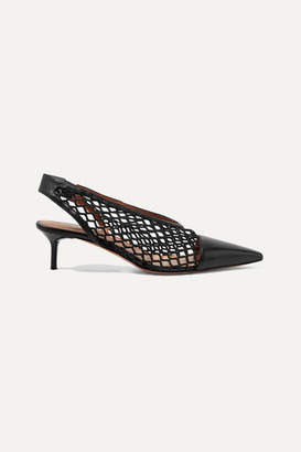 Altuzarra Peppino Fishnet And Leather Slingback Pumps - Black