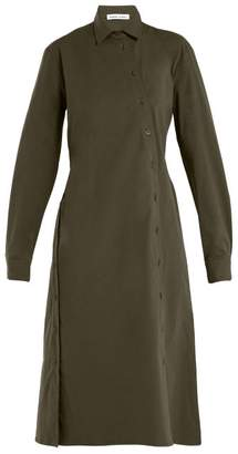 Tomas Maier Asymmetric Buttoned Poplin Dress - Womens - Khaki