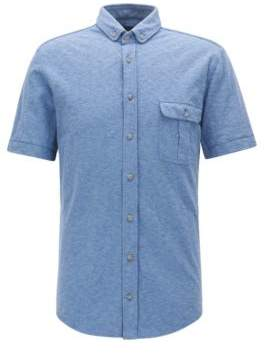 BOSS Hugo Cotton Jersey Sport Shirt, Slim Fit Elibre L Dark Blue