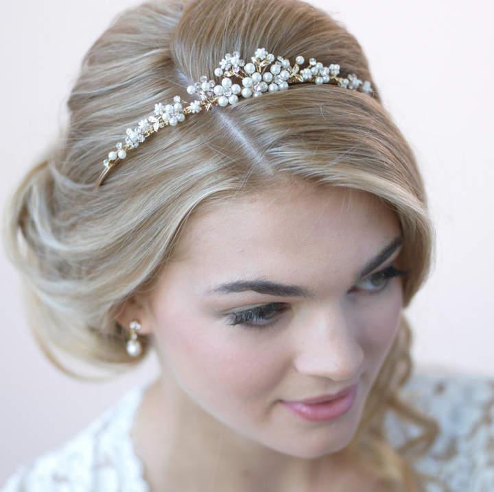 Etsy Pearl Gold Tiara, Bridal Hair Accessory, Gold Tiara, Pearl Bridal Crown, Wedding Crown, Bridal Headp