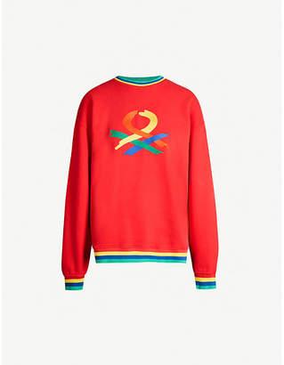 Benetton Unisex rainbow logo-embroidered cotton-jersey sweatshirt