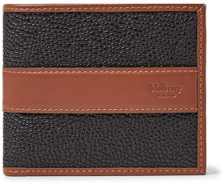 Mulberry Leather-Trimmed Pebble-Grain Coated-Canvas Billfold Wallet - Black