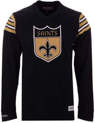 Mitchell & Ness Men's New Orleans Saints Team Captain V-Neck Long Sleeve T-Shirt