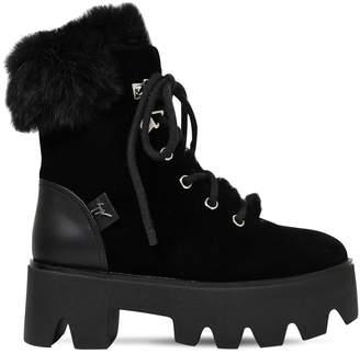 Giuseppe Zanotti Design 60mm Velvet & Lapin Fur Platform Boots