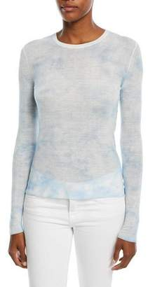 Michael Kors Crewneck Long-Sleeve Linen Tie-Dye Top