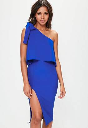 Missguided Blue Crepe One Shoulder Bow Sleeve Midi Dress