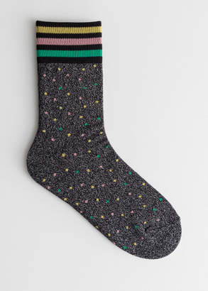 And other stories Glitter Varsity Stripe Socks