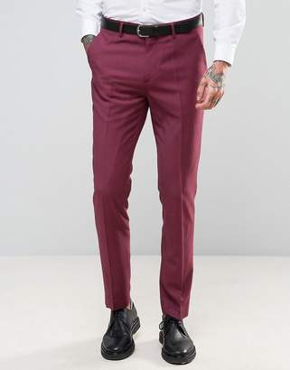 Devils Advocate Wedding Skinny Fit Burgundy Pink Suit Pants