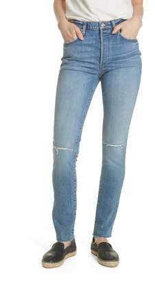 Free People Stella High Waist Raw Hem Skinny Jeans