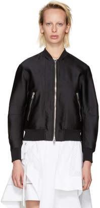 3.1 Phillip Lim Black Satin Lacing Bomber Jacket