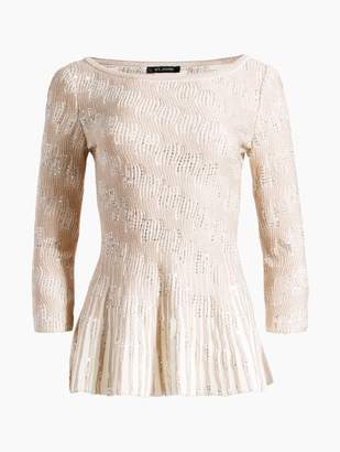 St. John Inlay Sequin Trellis Knit Fit & Flare Sweater
