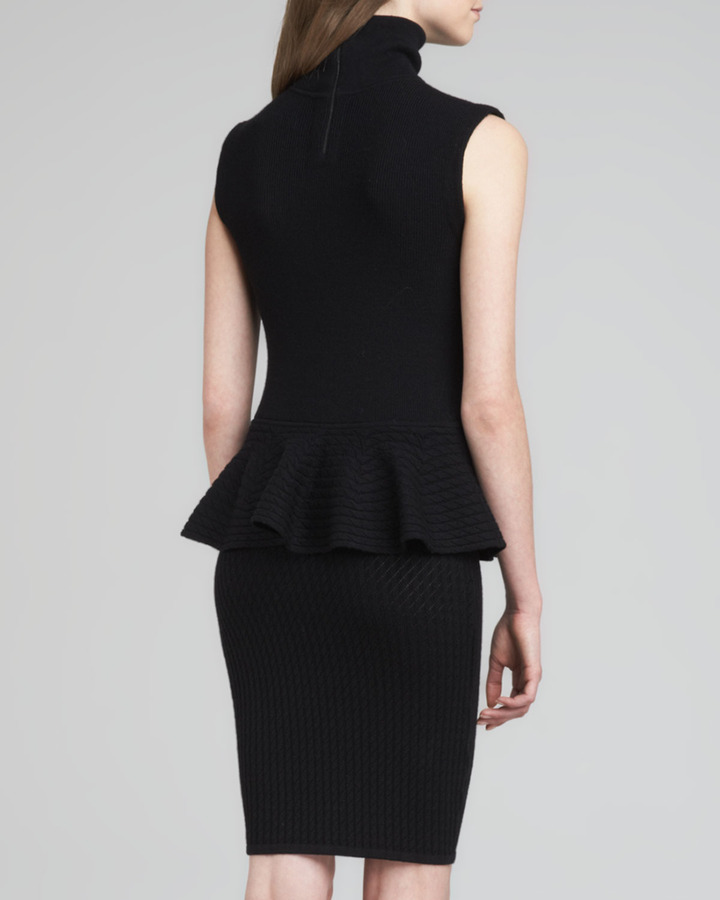 Alice + Olivia Kandi Turtleneck Peplum Dress