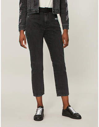 Off-White Strass-embellished relaxed-fit mid-rise jeans