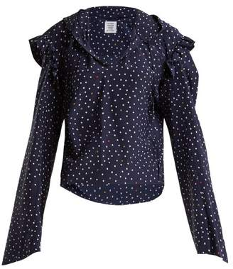 Vetements Ruffle Trimmed Polka Dot Silk Hooded Blouse - Womens - Navy Multi