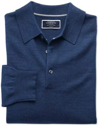 Charles Tyrwhitt Mid Blue Merino Wool Polo Neck Sweater Size Large