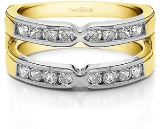 TwoBirch 10k Solid Gold Brilliant Moissanite X Design Round Brilliant Cut Classic Style Ring Guard (0.85ctw)