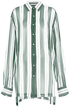 d9677c0811e72c Marc Jacobs Women s Redux Grunge Wide Stripe Silk Chiffon Shirt