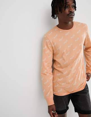 HUF long sleeve t-shirt with all over bolt logo print in peach