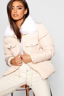 boohoo Faux Fur Collar Quilted Coat