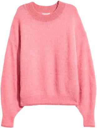 H&M Knit Mohair-blend Sweater - Pink