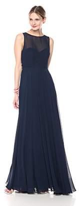 Jenny Yoo Women's Elizabeth Chiffon Illusion Neckline Open-Back Long Gown