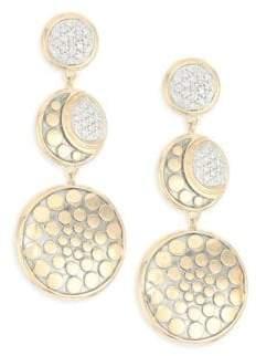 John Hardy Dot Moon Phase 18K Gold& Diamond Earrings