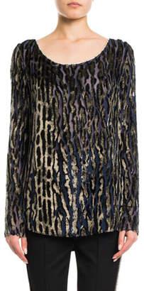 Redemption Boat-Neck Long-Sleeve Zebra-Devore Blouse