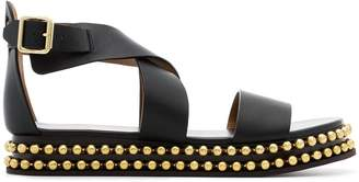 Chloé black Sawyer studded leather flatform sandals