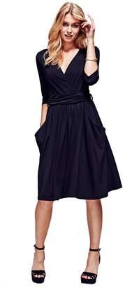 N. HotSquash - Black Thinheat False Wrap, Fit 'N Flare Thermal Dress