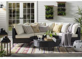 Mercury Row Dowd Low Profile 5 Piece Rattan Sectional Set with Cushions Frame