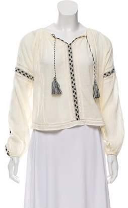 LoveShackFancy Embellished Peasant Top