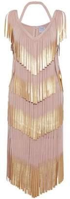 Herve Leger Fringed Metallic Bandage Dress