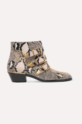 7986abf2f42f Chloé Susanna Studded Snake-effect Leather Ankle Boots