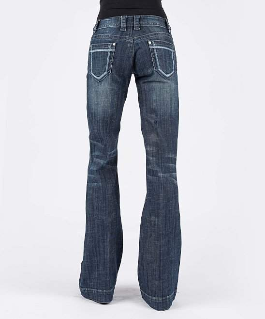 Blue Embroidered Detail Boot-Cut Jeans - Women