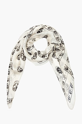 Alexander McQueen ivory and black Skull scarf
