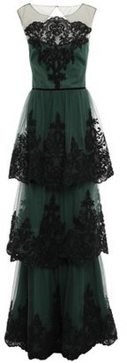 Marchesa Tiered Cutout Embellished Tulle Gown