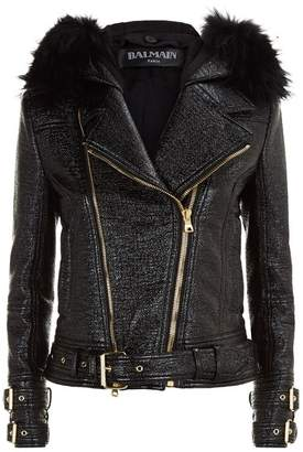 Balmain Fur Trim Aviator Jacket
