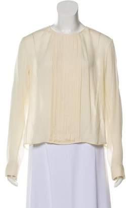 Rag & Bone Silk Semi-Sheer Pleated Blouse