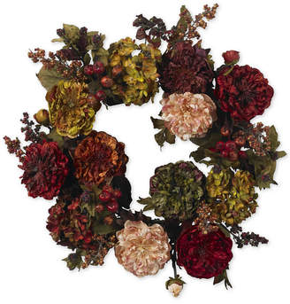 "Nearly Natural 22"" Autumn Hydrangea & Peony Wreath"