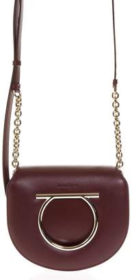 Salvatore Ferragamo Vela Wine Color Bag In Leather