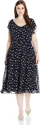 Julian Taylor Women's Plus Size Sleeveless Ruffled Chiffon Dress, Navy/Ivory, 18W