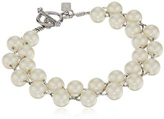 1928 Jewelry Silver-Tone Simulated Pearl Toggle Bracelet